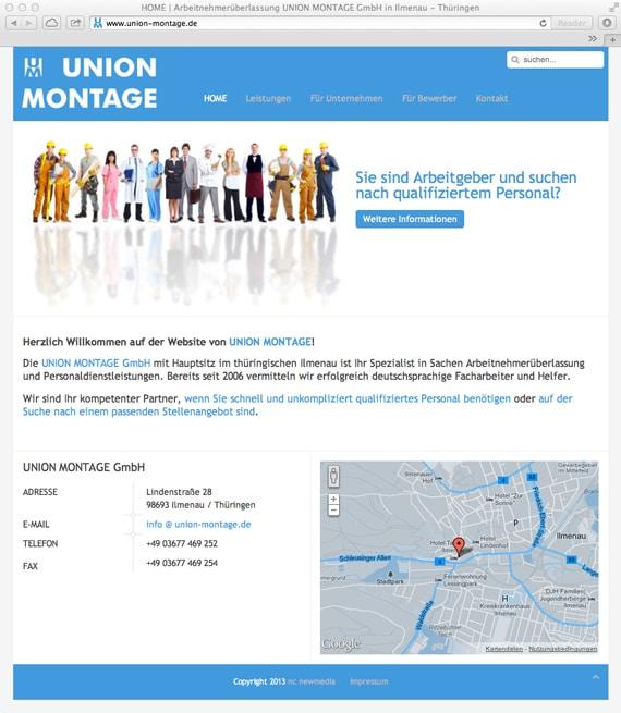 Screenshot der neuen Website von UNION MONTAGE GmbH